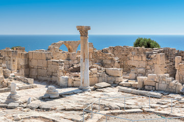 Ancient column at Kourion archaeological site, Limassol District, Cyprus.
