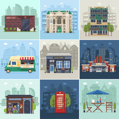 Entertainment city places. Public buildings, city infrastructure and environment concepts in flat design. Cafe restaurant, music theater, philharmonic hall and movie cinema on modern town backgrounds.