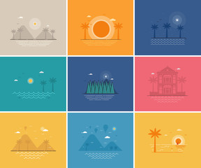Abstract summer seaside backgrounds set with different tropical scenes by day and night. Tropic island sunset, beach and sea views in flat design.