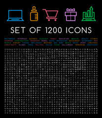 Set of 1200 Minimal White Icons on Black Background ( Isolated Elements )