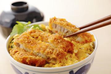 カツ丼 Pork cutlet on rice. Japanese food.