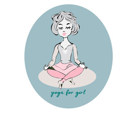 Cheerful Yoga Girl in lotus position. Vector