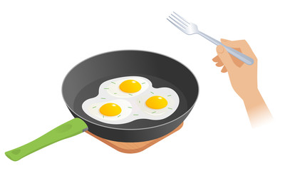 Flat isometric illustration of frying pan with scrambled eggs, hand with fork. The morning eating of omelette from dripping pan. The breakfast, ingestion, nutrition, food, albumen, vector concept.