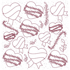 hearts love with wreath and ribbon pattern background