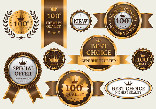 Gold brown banner collection set luxury on gray background vector illustration.