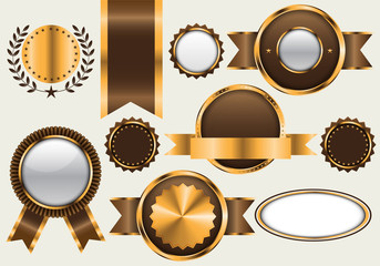 Gold brown banner blank collection set luxury on gray background vector illustration.
