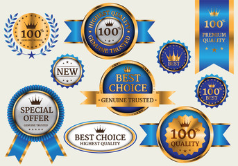 Gold blue banner collection set luxury on gray background vector illustration.