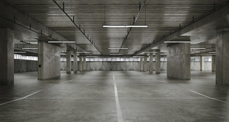 3d empty underground parking space