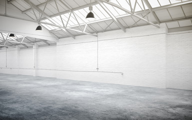 3d empty industrial interior hall