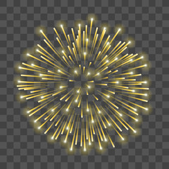 Beautiful gold firework. Golden salute isolated transparent background. Light decoration firework for Christmas, New Year celebration, holiday, festival, birthday card. Vector illustration