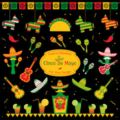 Set of traditional symbols for cinco de mayo fiesta. Sombrero and maracas, tequila bottle and cocktails, taco and pinata also cactus mariachi. Festive vector illustration for event on cinco de mayo.