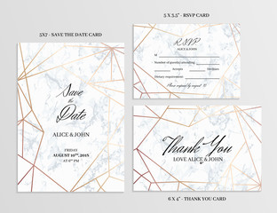 Wedding set. Save the date, thank you and R.S.V.P. cards template of geometric design. White marble background and rose gold geometric pattern. Seamless pattern included. Eps10.