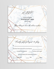 RSVP geometric design card template. Two sides.. White marble background and rose gold geometric pattern. Dimensions 5x3.5 inch. Seamless pattern included. Eps10.