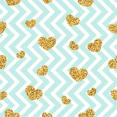 Gold heart seamless pattern. Blue-white geometric zig zag, golden confetti-hearts. Symbol of love, Valentine day holiday. Zigzag design wallpaper, background, texture. Vector illustration