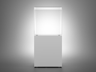Empty glass box on white podium for exhibition and presentation of product. 3d rendering