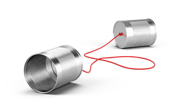 Tin cans phone isolated on white. Communication concept. 3d rendering