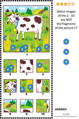 Visual logic puzzle with milk cow feeding outdoor and rural scene: What of the 2 - 10 are not the fragments of the picture 1? Answer included.