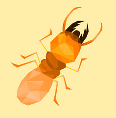 low poly termite with soft orange back ground,cartoon style,Abstract vector illustration
