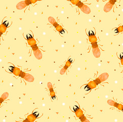 Pattern of low poly termite with soft orange back ground,cartoon style,Abstract vector illustration