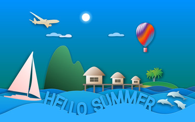 Hello summer travel illustration in paper cut style. Sea resort with bungalows, sailing yacht, balloon, islands, dolphins and aircraft.