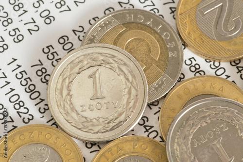 Münzen Polnische Zloty Pln Und Eine Tabellenkalkulation Stockfotos