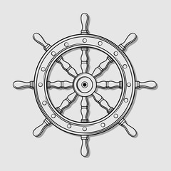 Ship steering wheel. Vector illustration