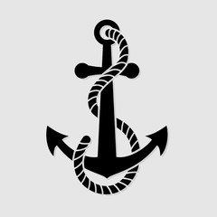 Anchor with a rope, isolated on white background. Vector illustration.