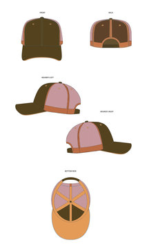 Trucker Cap Template Mock Up 6 Panel Trucker Hat Vector Template Illustration Fashion Accessory Cap Headwear Front Back Side and Bottom View