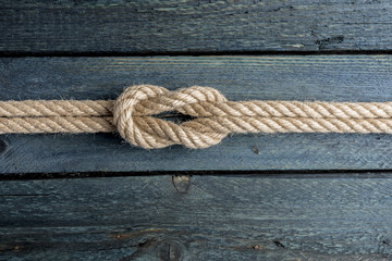 Square knot. Nautical rope knot