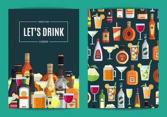 Vector card, flyer or brochure template for bar, pub or liquor store with alcoholic drinks in glasses and bottles