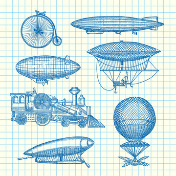 Vector set of steampunk hand drawn dirigibles, bicycles and cars on cell sheet illustration