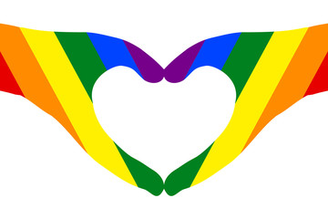 Hands in heart shape on white (transparent) background, painted rainbow color, symbol of LGBT / GLBT / LGBTQ pride flag, or lesbian, gay, bisexual, transgender, queer/questioning. Vector illustration.