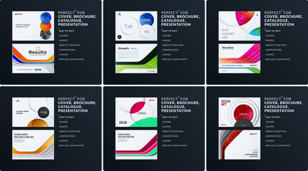 Presentation. Abstract vector set of modern horizontal templates with colourful smooth shapes for business, teamwork