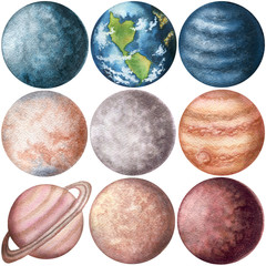 Set of Watercolor Planets. Hand Drawn Solar System