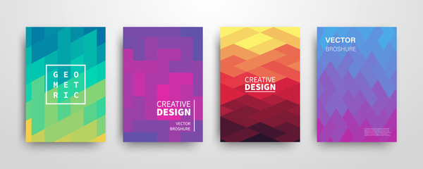 Modern futuristic abstract geometric covers set Fotoväggar