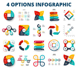 Vector circles, arrows, square for presentation. Abstract business infographic elements of cycle diagram with 4 steps, options, parts or processes.