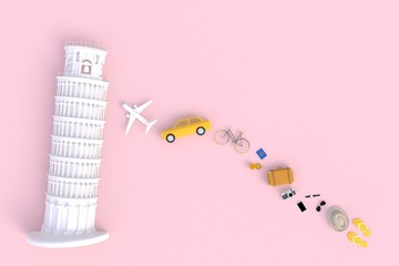 Leaning Tower of Pisa, Italy, Europe, Italian Architecture, Top view of Traveler's accessories abstract minimal pink background, Essential vacation items, Travel concept, 3d rendering
