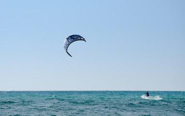 kiteboarding on Mediterranean Sea near Rishon Lezion beach