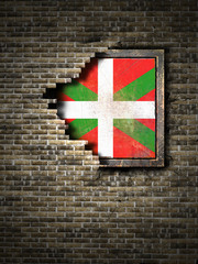 Old Basque Country flag in brick wall
