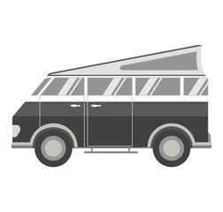 Retro the vintage van for a road travel. A summer trip to the nature and to the beach in the minivan. An icon the vehicle a design concept for the website. Trip to the country. In flat style.