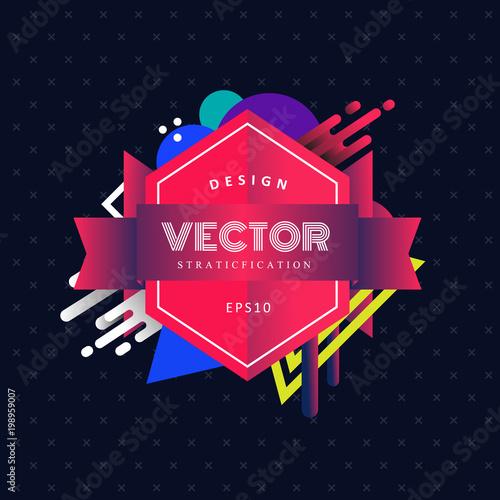 Modern retro badge logo geometric shapes vector illustration