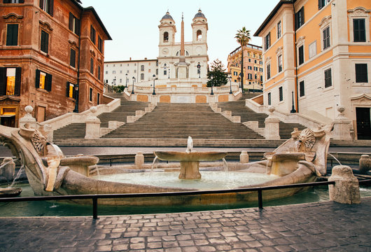 Spanish Steps in the Plaza of Spain in Rome in the early morning without people