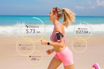 Woman running, wearable tech concept