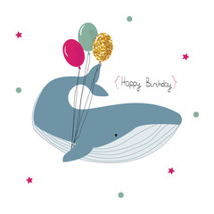 Happy birthday greeting card with whale and balloons. Vector hand drawn illustration.