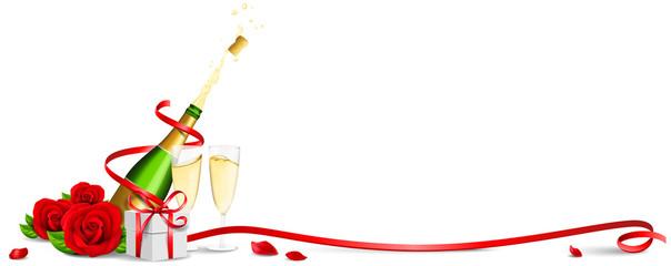 Sekt Flasche mit Sektgläsern, Rosen und Geschenk