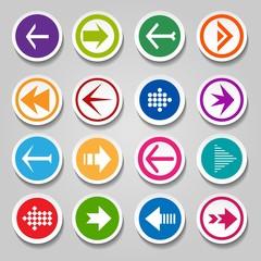 Arrow labels or stickers. Vectors round symbols next and back navigation arrow vector round designelements