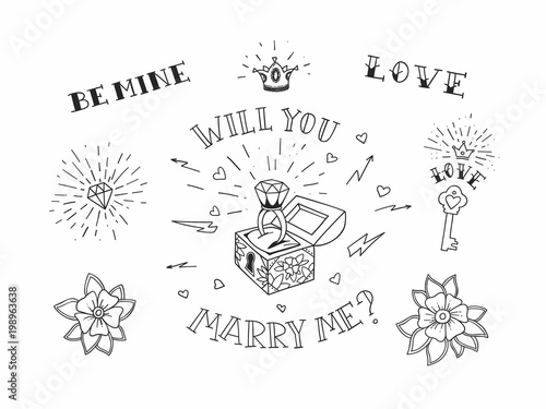Set Of Hand Drawn Traditional Tattoo Elements Vintage Vector Design For Stickers Ar Prints
