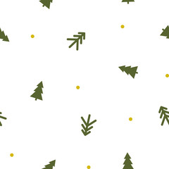 vector seamless pattern of green Christmas trees