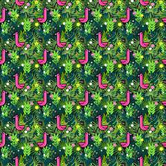 Tropical seamless pattern with pink flamingos and palm leaves. Design for fabric, wallpaper, textile and decor.