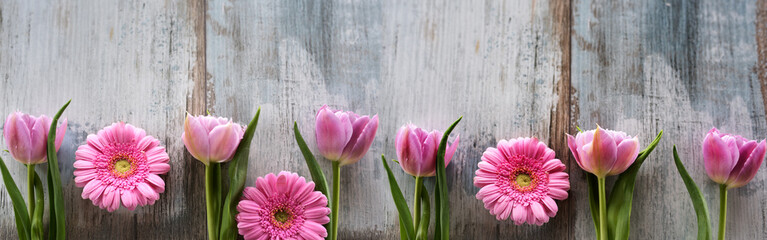 Foto op Plexiglas Tulp Spring flowers on shabby wood